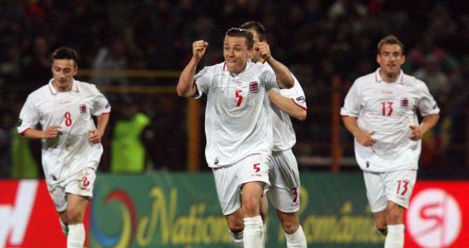 Piłkarze z Luksemburga po zdobyciu jedynego gola w meczu z Rumunią (fot. PAP/EPA)