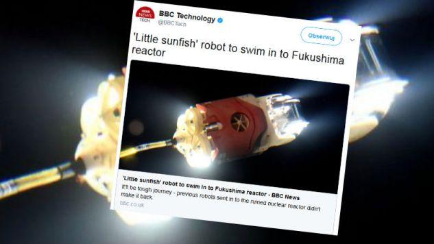 Robot ma zbierać dane z tych rejonów elektrowni, które ciągle znajdują się pod wodą (fot. Twitter/BBC)