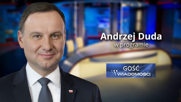"""Prezydent Andrzej Duda """"Gościem Wiadomości"""" (fot. tvp.info)"""