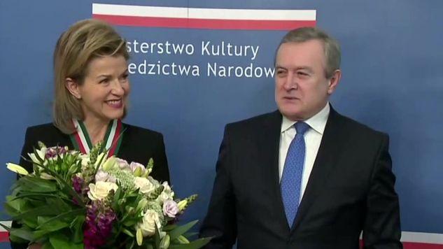 Skrzypaczka Anne-Sophie Mutter i wicepremier, minister kultury prof. Piotr Gliński (fot. TVP Info)
