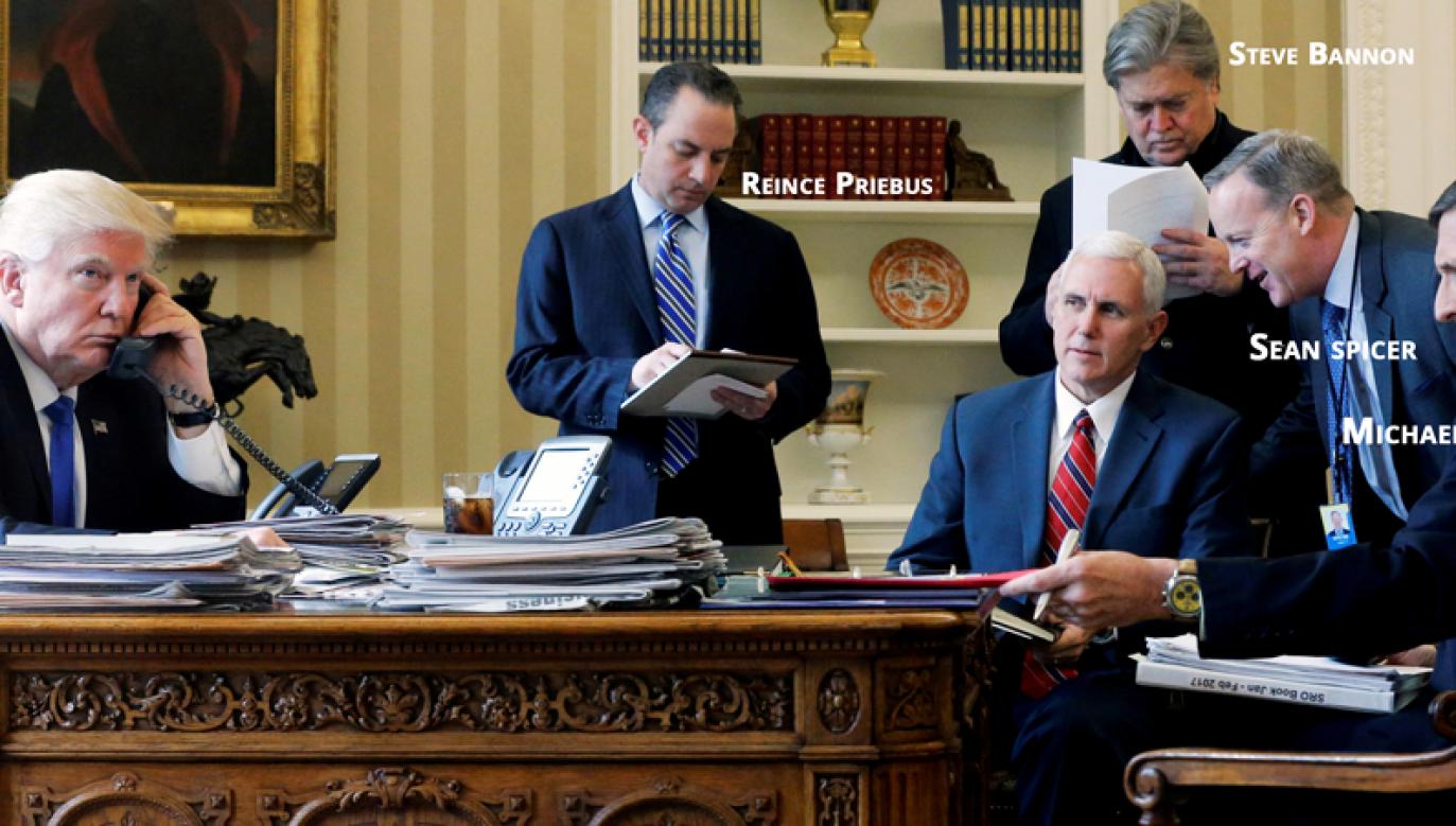 Donald Trump i jego gabinet (fot. REUTERS/Jonathan Ernst/File Photo)