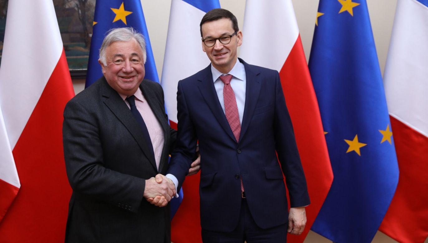 Premier RP Mateusz Morawiecki (P) i przewodniczący Senatu Francji Gerard Larcher (L) podczas spotkania w Warszawie (fot. PAP/rafał Guz)
