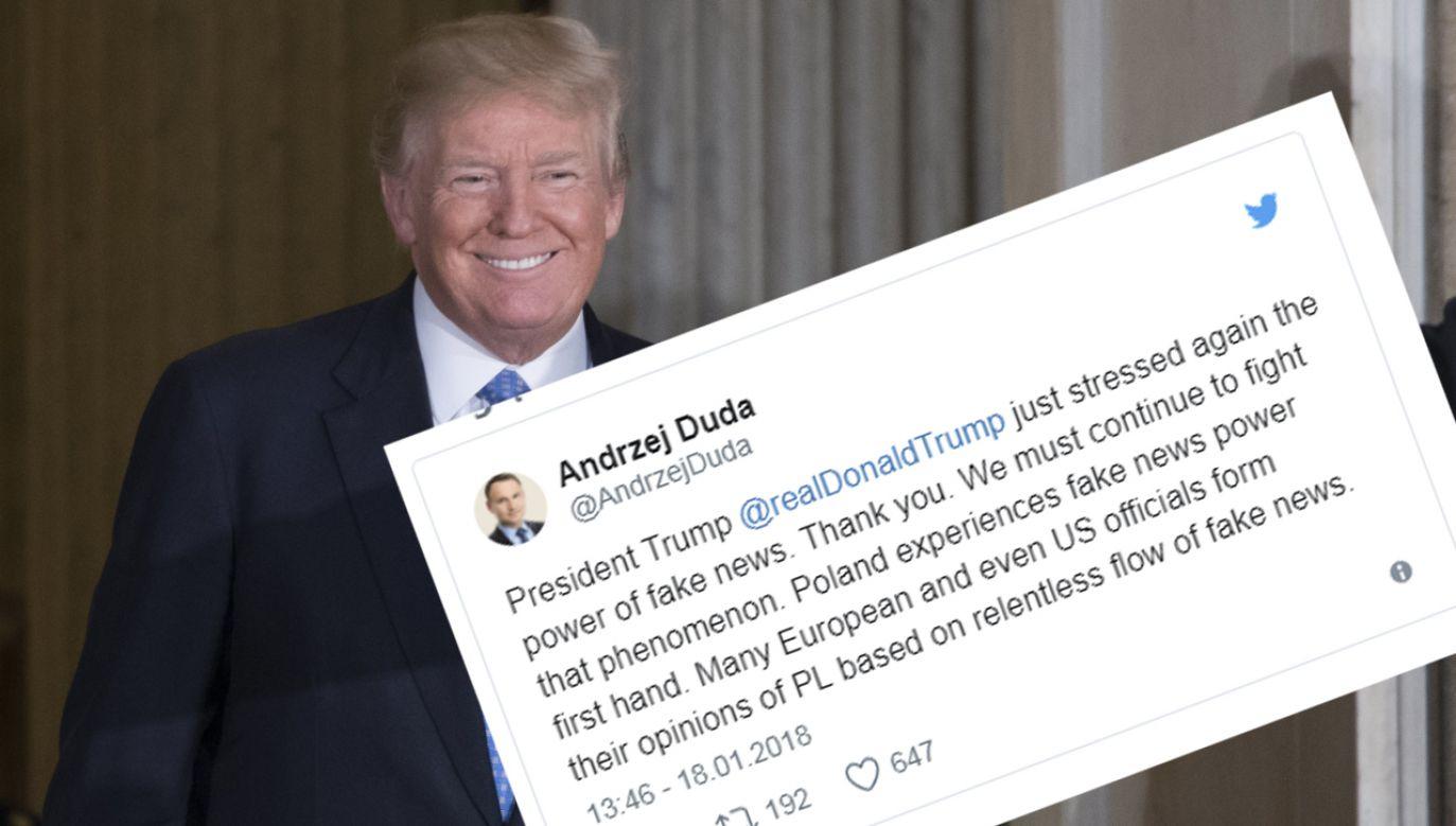 Prezydent  Andrzej Duda podziękował na Twitterze prezydentowi Donaldowi Trumpowi za demaskowanie fake newsów (fot. PAP/EPA/SHAWN THEW; TT)