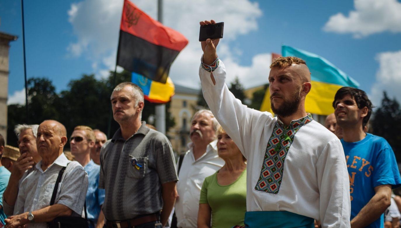 Demonstracja na Majdanie (fot. PAP/EPA/ROMAN PILIPEY)