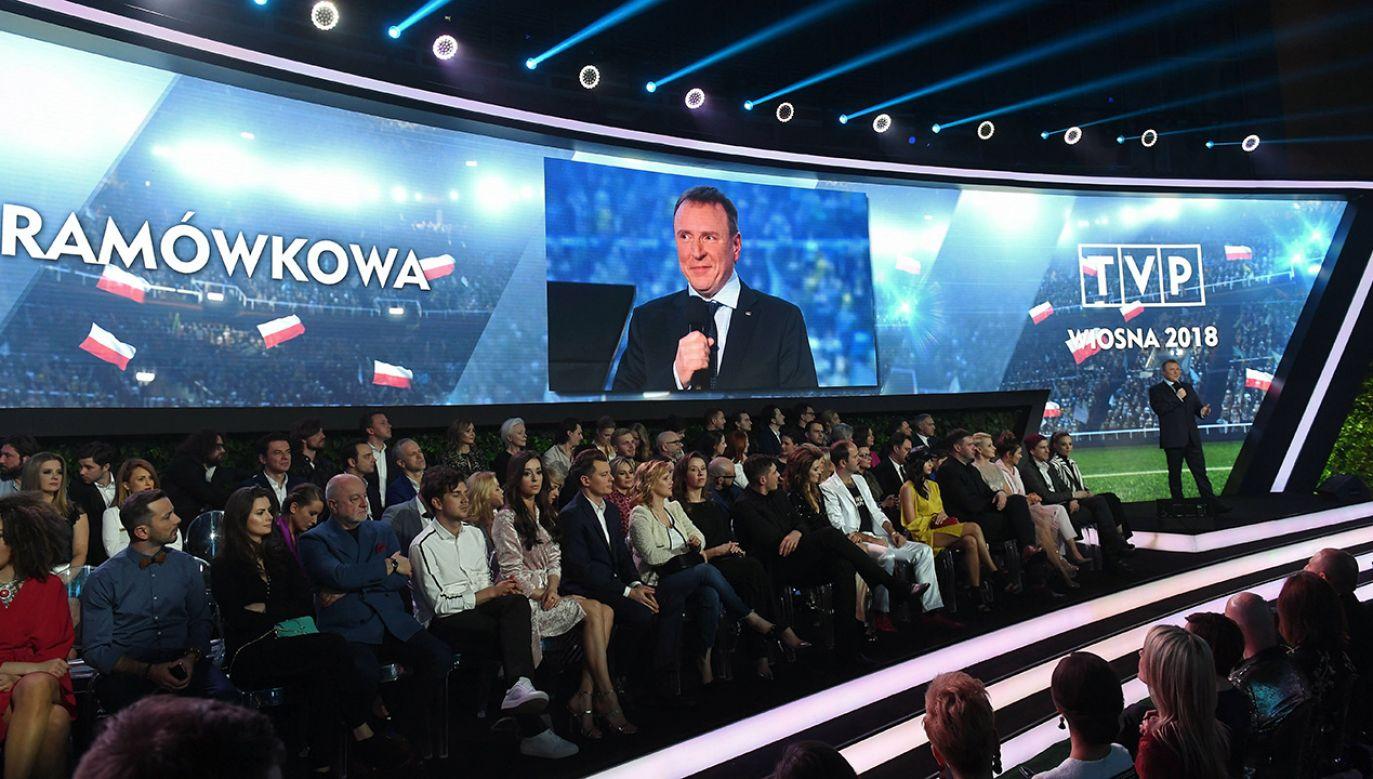 Prezentacja wiosennej oferty programowej TVP. Nz. Prezes TVP Jacek Kurski (fot. arch.PAP/StrefaGwiazd/Marciin Kmieciński)