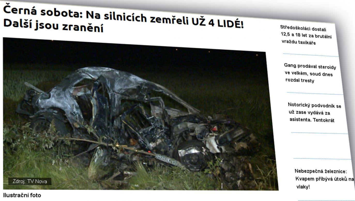 Siła zderzenia odrzuciła samochody na odległość kilkudziesięciu metrów (fot. tn.nova.cz)