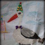 Bocian namalowany przez Aleksandrę Borzęcką, 7 lat