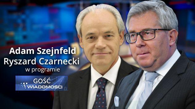 """Program """"Gość Wiadomści"""" rozpocznie się o 19.57 (fot. graf. tvp.info)"""