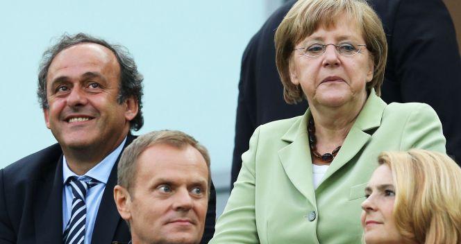 Ćwierćfinał w Gdańsku z trybun obserwowali Michel Platini, Donald Tusk oraz Angela Merkel (fot. Getty Images)