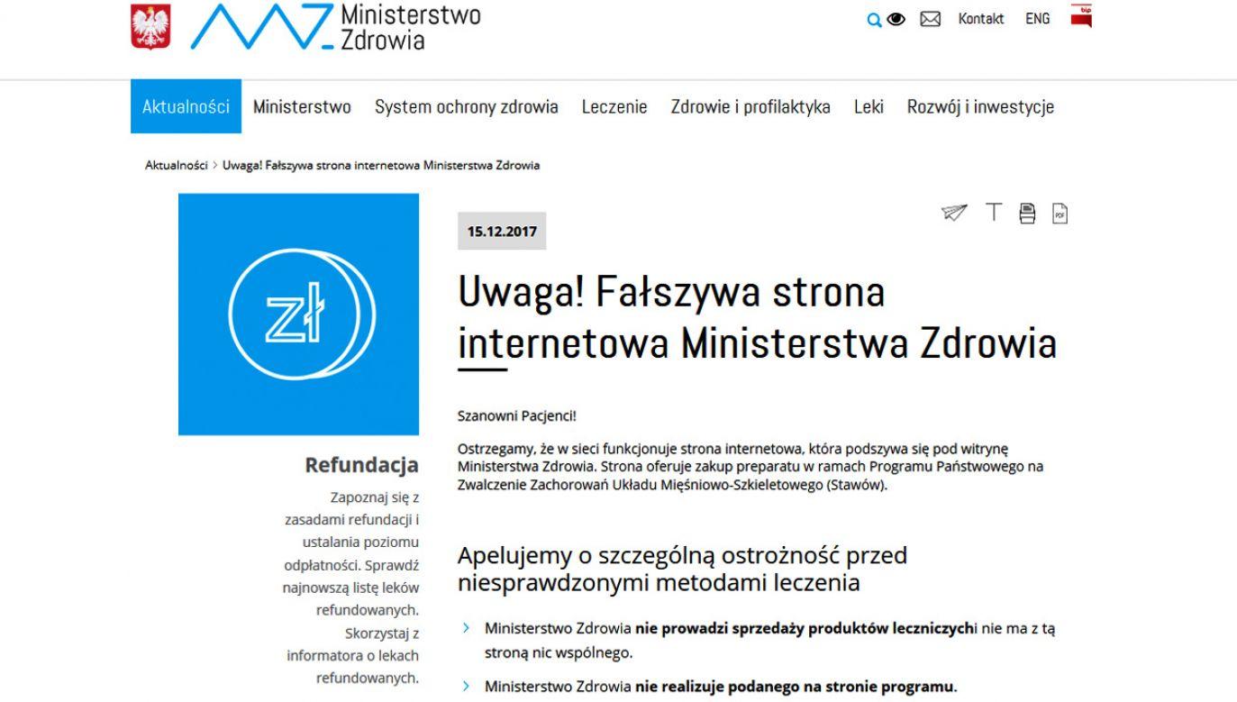 Ministerstwo Zdrowia ostrzega przed stroną internetową, która podszywając się pod witrynę resortu, oferuje zakup preparatu (fot. Materiały prasowe)