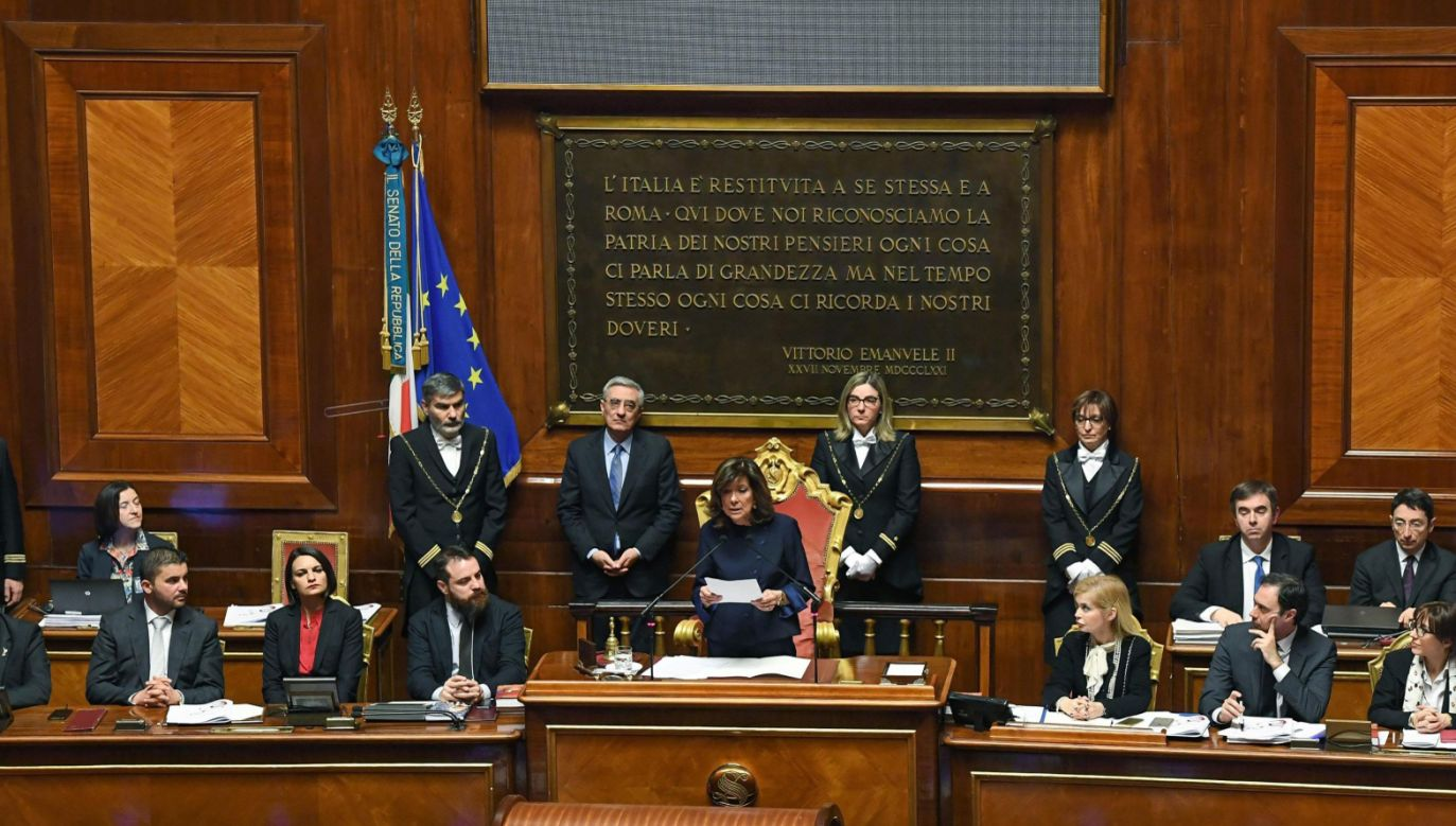 Przewodniczącą Senatu została Maria Elisabetta Alberti Casellati z partii Forza Italia (fot. PAP/EPA/ALESSANDRO DI MEO)