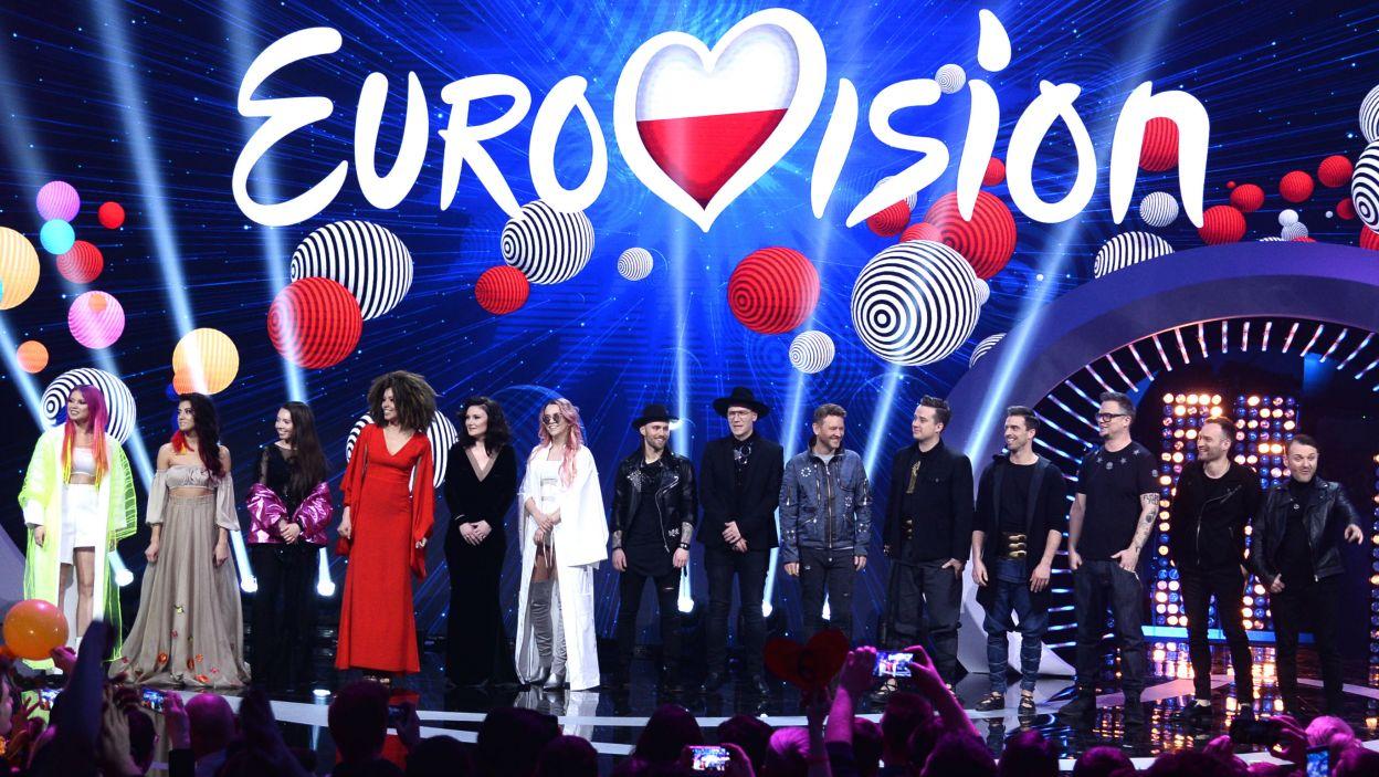 Każdy z uczestników krajowych eliminacji Eurowizji 2018 miał nadzieję, że to właśnie jego piosenka spodoba się jurorom i widzom (fot. TVP/Jan Bogacz)