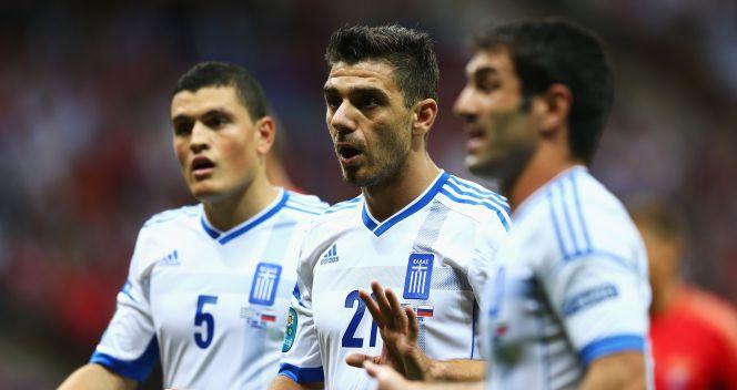 Piłkarze Grecji podczas grupowego meczu z Rosją (fot. Getty Images)