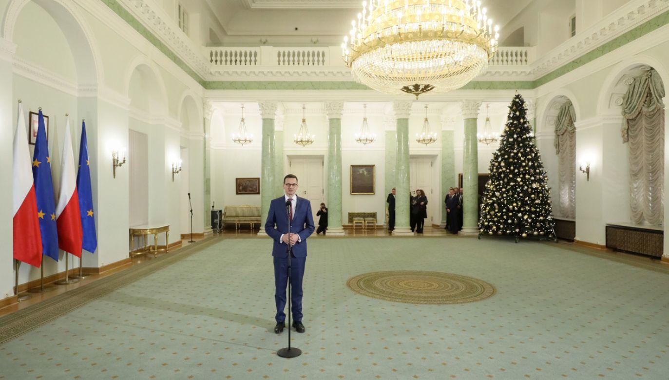 Mateusz Morawiecki podczas uroczystości w Pałacu Prezydenckim w Warszawie (fot. PAP/Paweł Supernak)