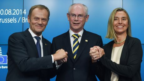 Donald Tusk, Herman Van Rompuy, Federica Mogherini (fot. PAP/Radek Pietruszka)