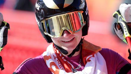 Maryna Gąsienica-Daniel na trasie zjazdu. Bez medalu, ale też bez wstydu
