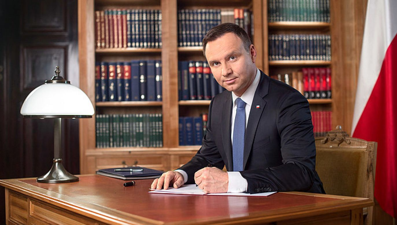 Prezydent Andrzej Duda złożył życzenia z okazji 100. rocznicy odbudowy państwa litewskiego (fot,. KPRP)