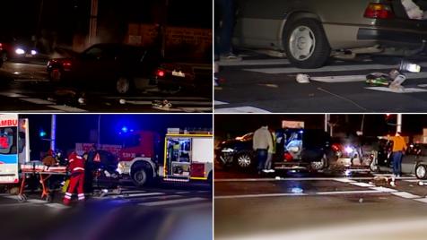 Kilkanaście metrów od reportera TVP Info furgonetka zderzyła się z mercedesem (fot. TVP Info)