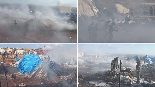 Na razie nie wiadomo, kto przeprowadził atak z powietrza (fot. youtube.com/media.civildefense idlib)