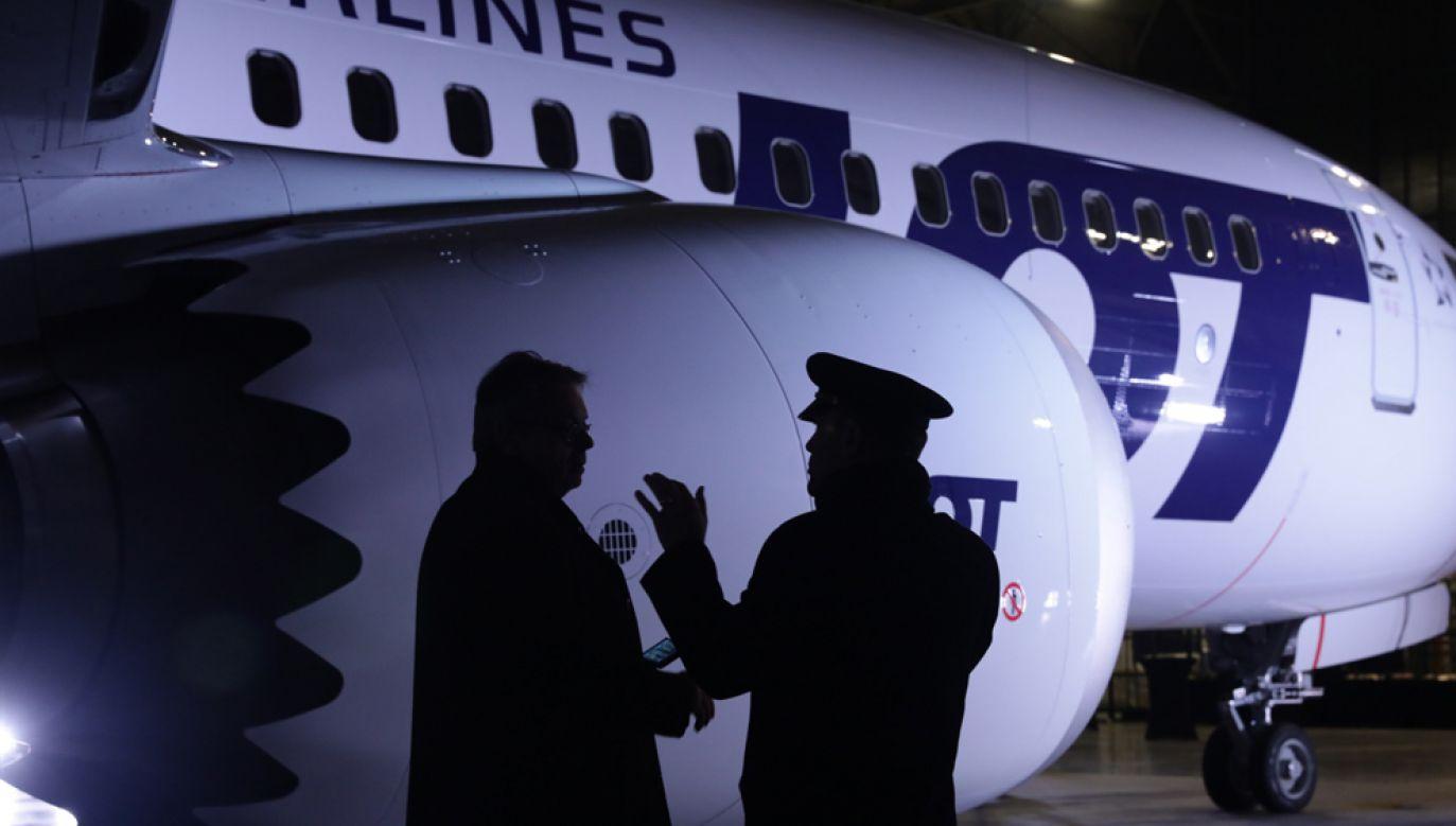 Boeing 737 MAX 8 wylądował w sobotę na warszawskim Lotnisku Chopina (fot. PAP/Tomasz Gzell)