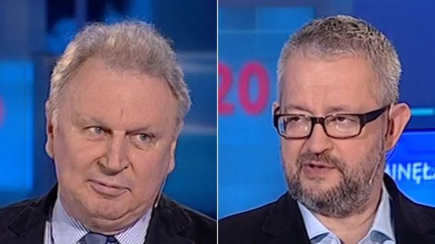 Jerzy Domański (z lewej) i Rafał Ziemkiewicz byli gośćmi TVP Info (fot. TVP Info)