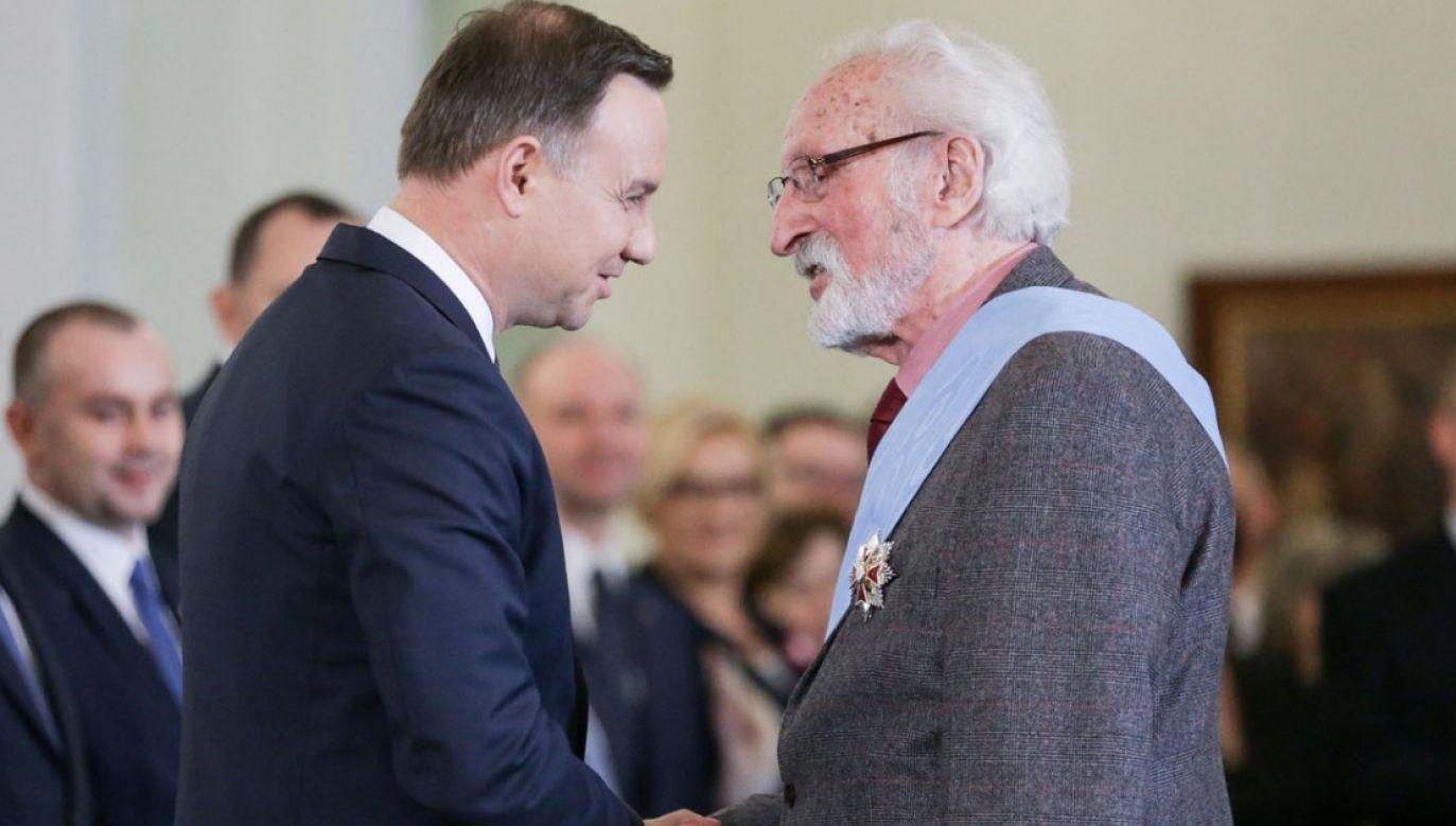 Prezydent Duda złożył Franciszkowi Pieczce gratulacje z okazji 90.urodzin (fot. KPRP/Krzysztof Sitkowski)
