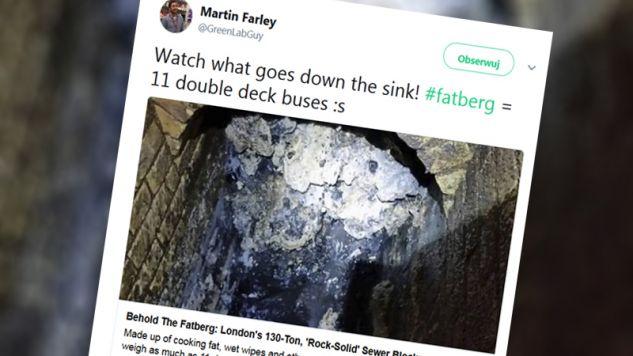 Góra tłuszczu zablokowała kanalizację w Londynie (fot. tt/@GreenLabGuy)