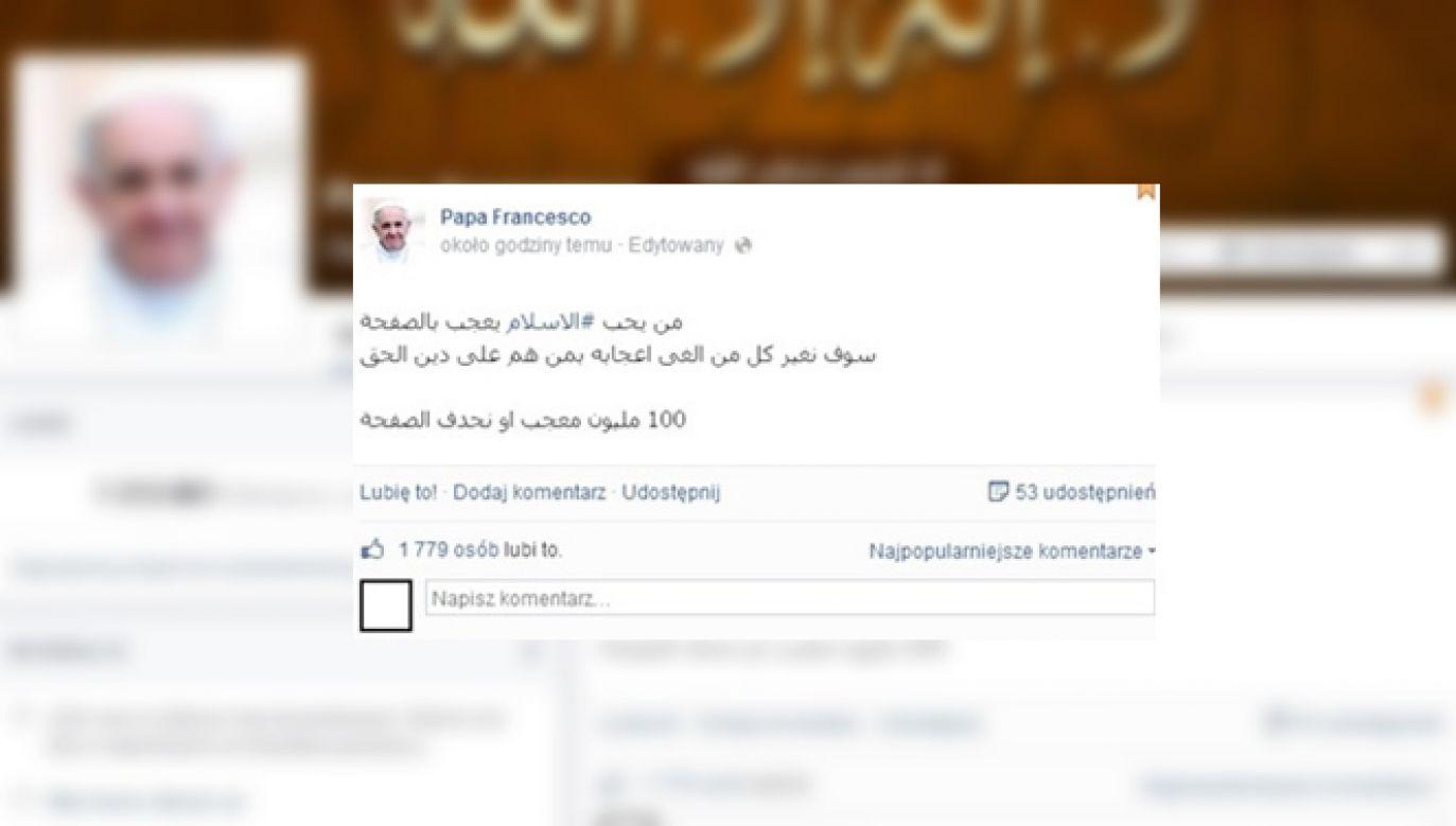 Na profilu pojawiły się m.in. wpisy w języku arabskim nawołujace do tzw. świętej wojny (fot. Facebook/Papa Francesco)