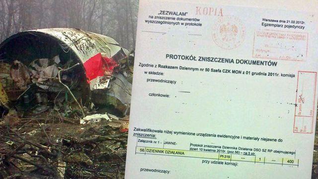 Jest protokół zniszczenia dokumentów z 10 kwietnia 2010 roku. MON potwierdza jego autentyczność
