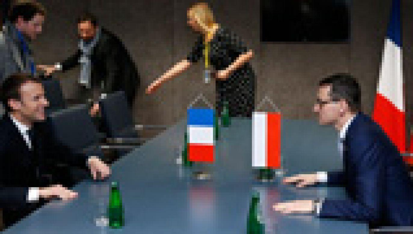 Premier Morawiecki spotkał się w Brukseli z prezydentem Francji (fot.PAP/EPA/Francois Lenoir)