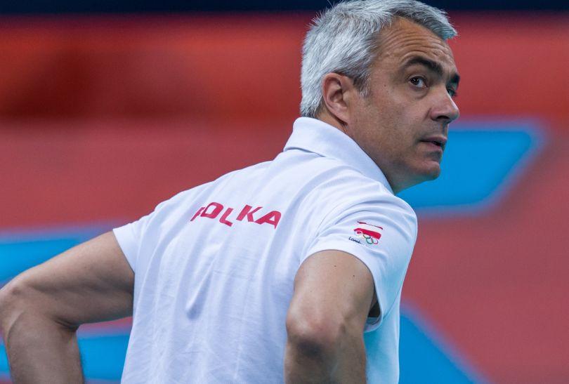 Trener Andrea Anastazi podczas ostatniego meczu grupowego (fot. PAP/Adam Ciereszko)