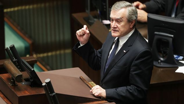 Wicepremier, minister kultury Piotr Gliński w Sejmie (fot. PAP/Bartłomiej Zborowski)