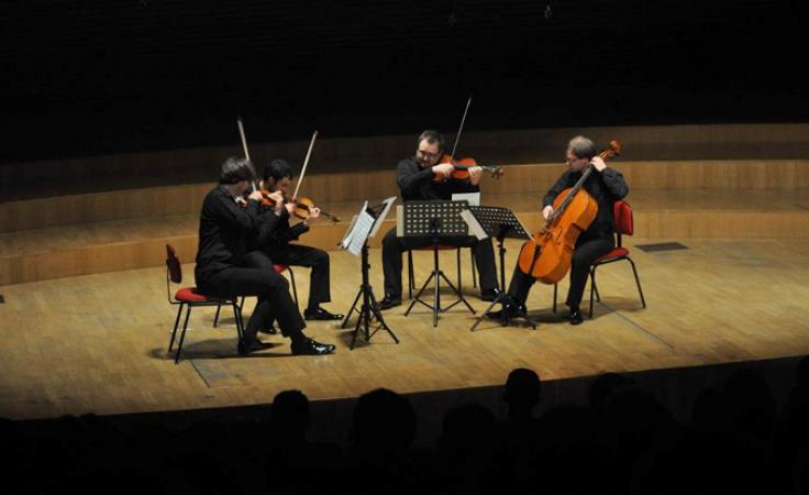 Konkurs Kwartetów 2014 Laureaci pierwszej nagrody, Sedlacek String Quartet (Czechy) podczas koncertu laureatów. Foto. www.szymanowski.zakopane.pl