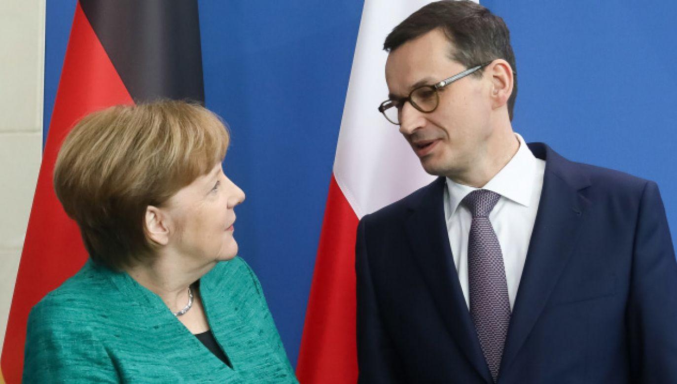Premier Mateusz Morawiecki i kanclerz Niemiec Angela Merkel  (fot. PAP/Paweł Supernak)