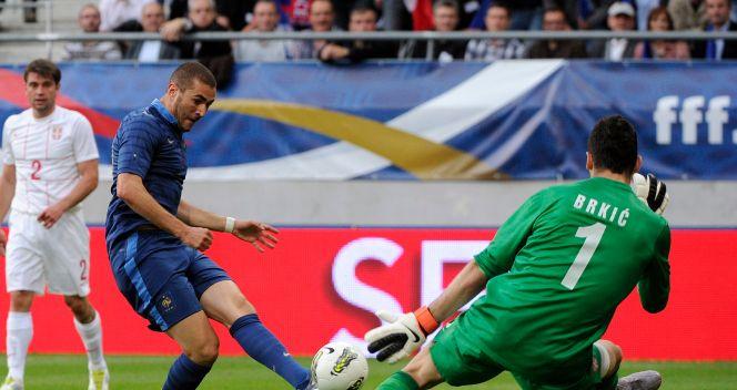Swojej bramki szukał również Karim Benzema (fot. PAP/EPA)