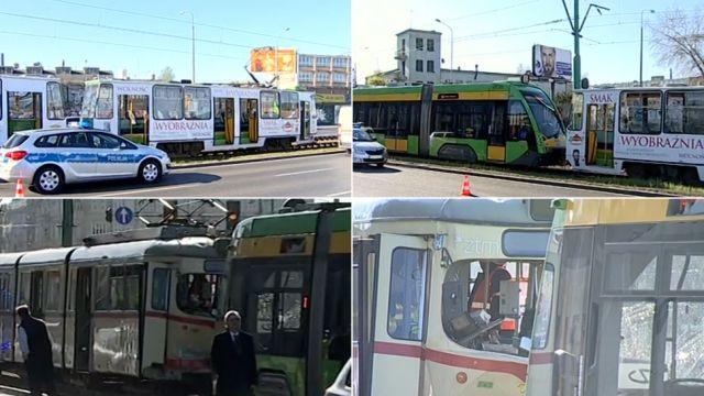 Zderzenie trzech tramwajów i aut w Poznaniu. Blisko 30 osób poszkodowanych