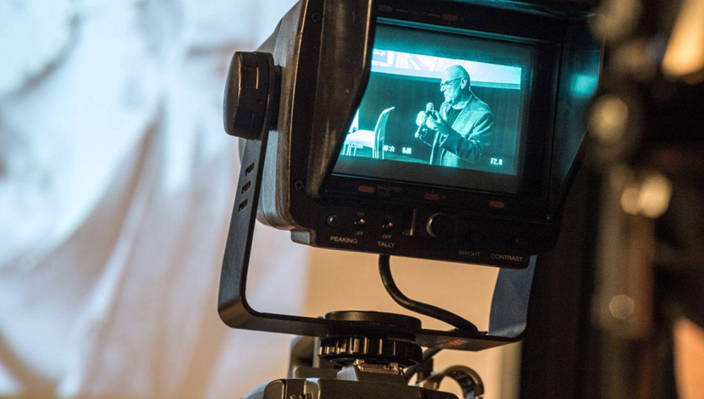 Premierowe otwarcia archiwum filmowego online w Studiu TV Państwowej Wyższej Szkoły Filmowej, Telewizyjnej i Teatralnej im. Leona Schillera w Łodzi. (fot. PAP/Grzegorz Michałowski)