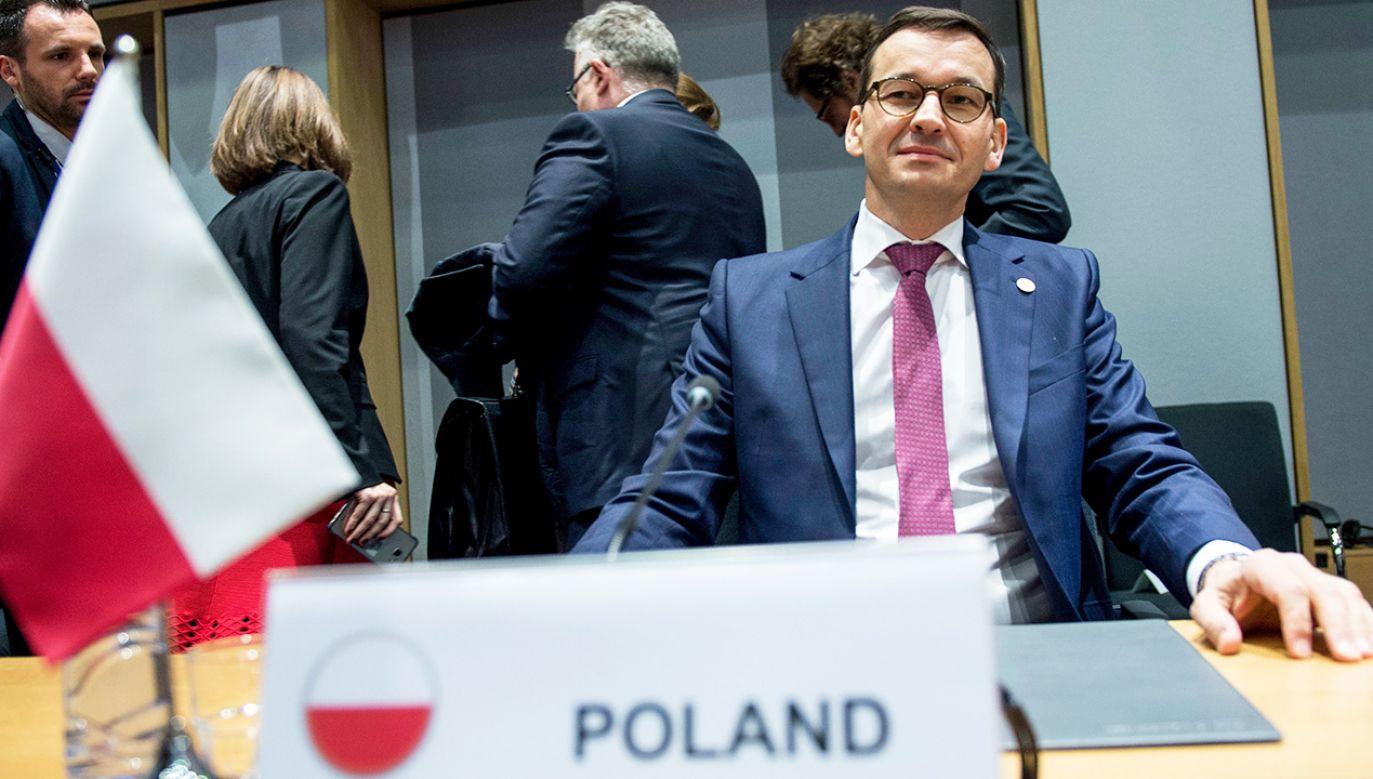Premier RP Mateusz Morawiecki podczas spotkania koordynacyjnego Grupy Wyszehradzkiej w Brukseli (fot. PAP/Marcin Obara)