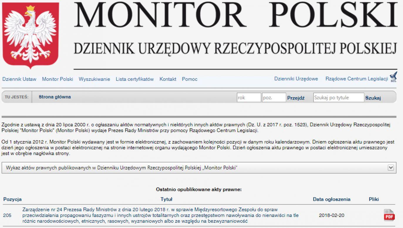 W Monitorze Polskim opublikowano zarządzenie premiera ws. zespołu do walki z przejawami faszyzmu (fot. monitorpolski.gov.pl)