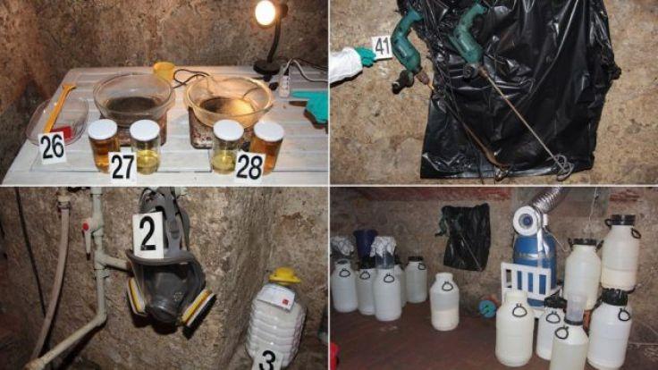 Tak wygląda zazwyczaj laboratorium, w którym produkowana jest metamfetamina (fot. policja)