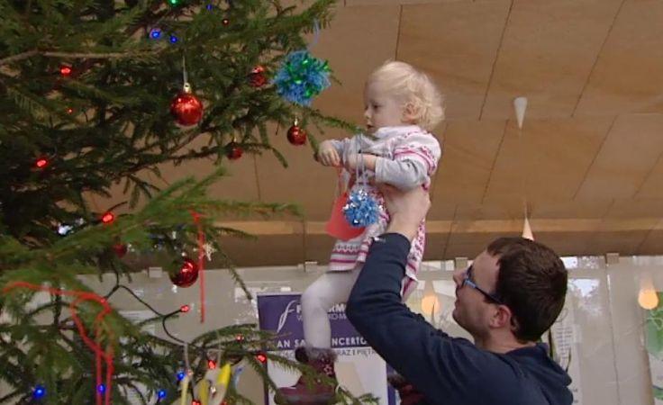 W holu Filharmonii Warmińsko-Mazurskiej w Olsztynie stanęło ogromne świąteczne drzewko.
