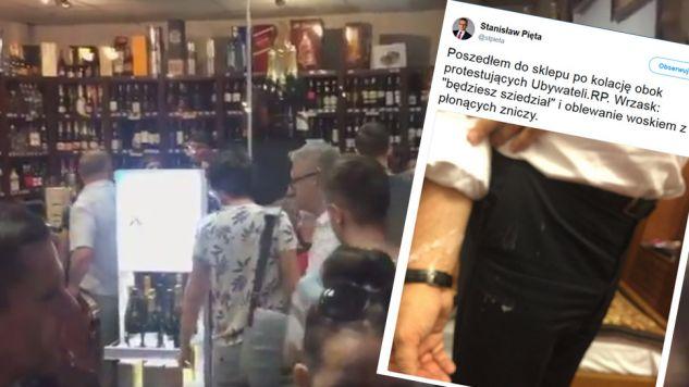 Poseł Pięta o oblaniu go woskiem poinformował na Twitterze (fot. tt/@szczepaniak_p/stpieta)
