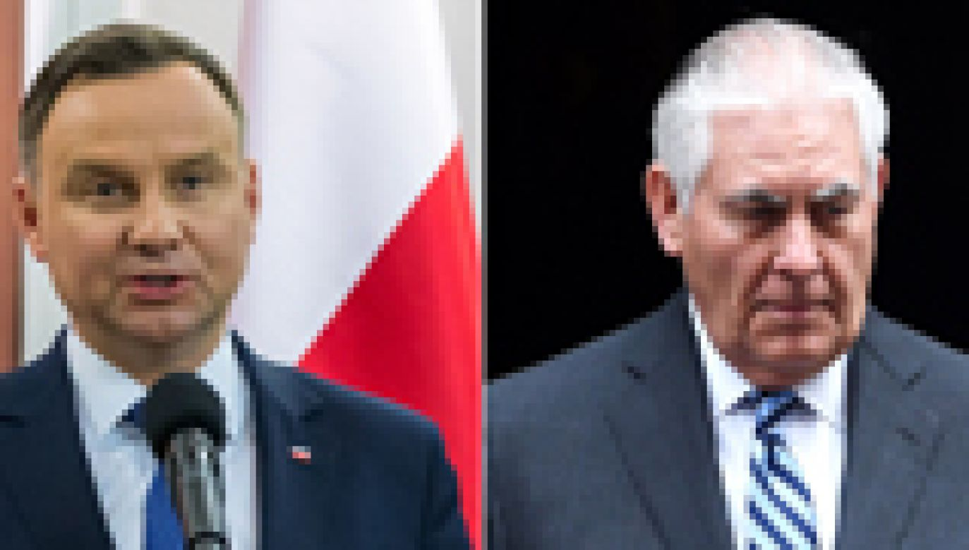 Prezydent Andrzej Duda (L) i sekretarza stanu USA Rex Tillerson (P)  spotkają się w piątek w Warszawie (fot. PAP/EPA/Tytus Żmijewski//FACUNDO ARRIZABALAGA)