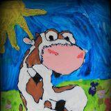 Słodki Cielaczek narysowany przez Aleksandrę Ołuwkę, 6 lat