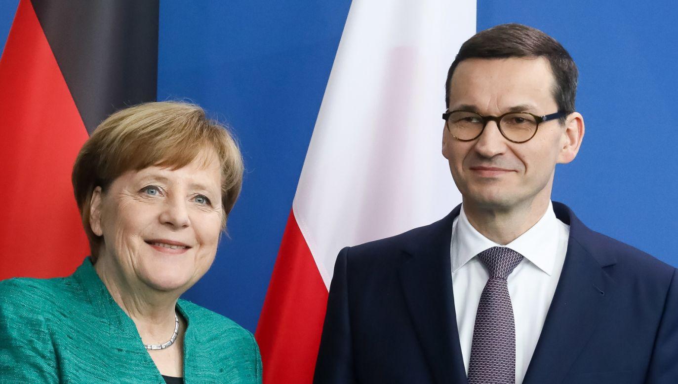 Premier Mateusz Morawiecki i kanclerz Niemiec Angela Merkel podczas konferencji prasowej w Berlinie (fot. PAP/Paweł Supernak)