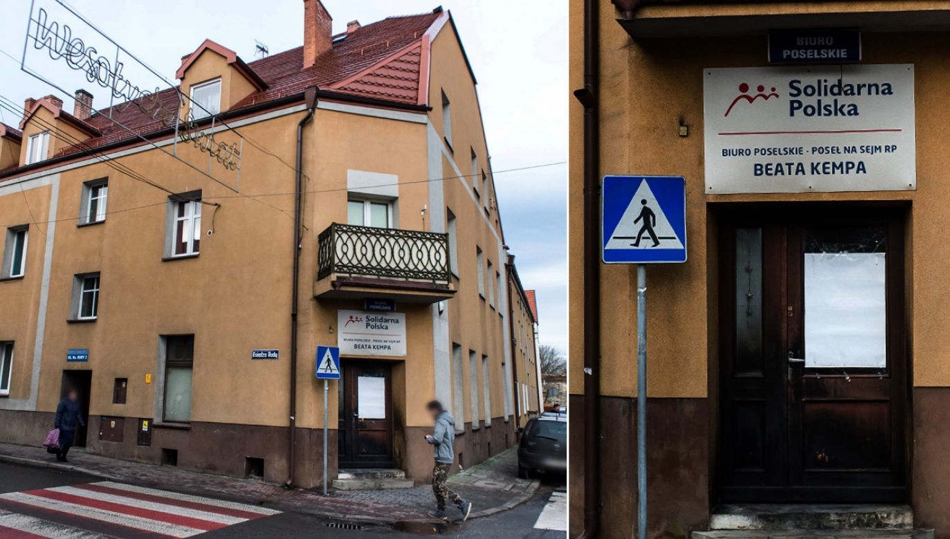 Spalone drzwi wejściowe do biura poselskiego Beaty Kempy w Sycowie (fot. arch. PAP/Maciej Kulczyński)