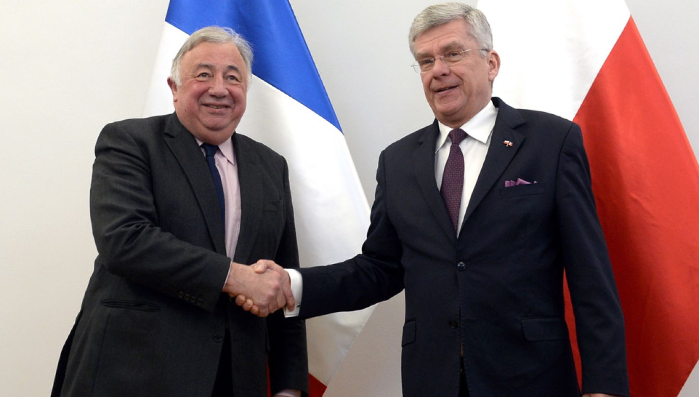 Marszałek Senatu Stanisław Karczewski (P) i przewodniczący Senatu Francji Gerard Larcher (L) (fot. PAP/Marcin Obara)