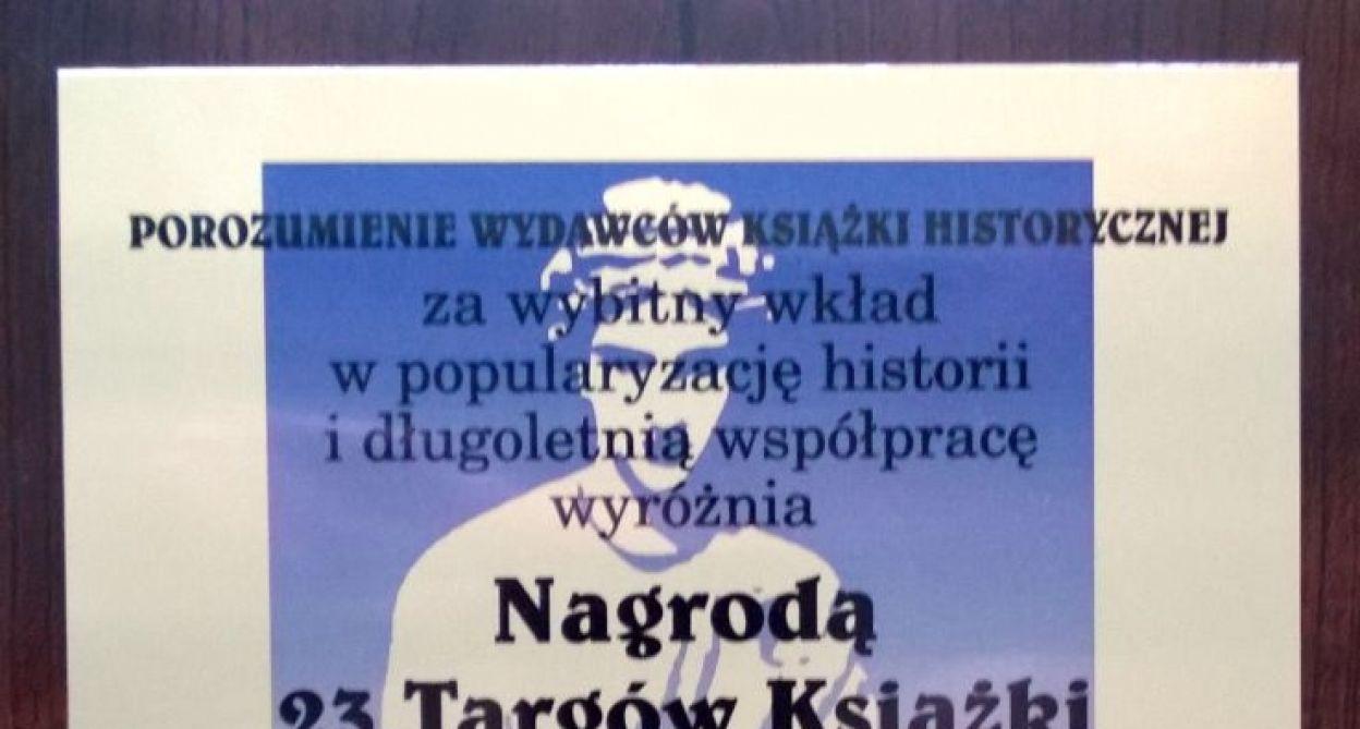 Wyróżnienie przyznane antenie podczas 23. Targów Książki Historycznej