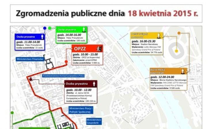 Zgromadzenia publiczne i przemarsze w sobotę, 18 kwietnia