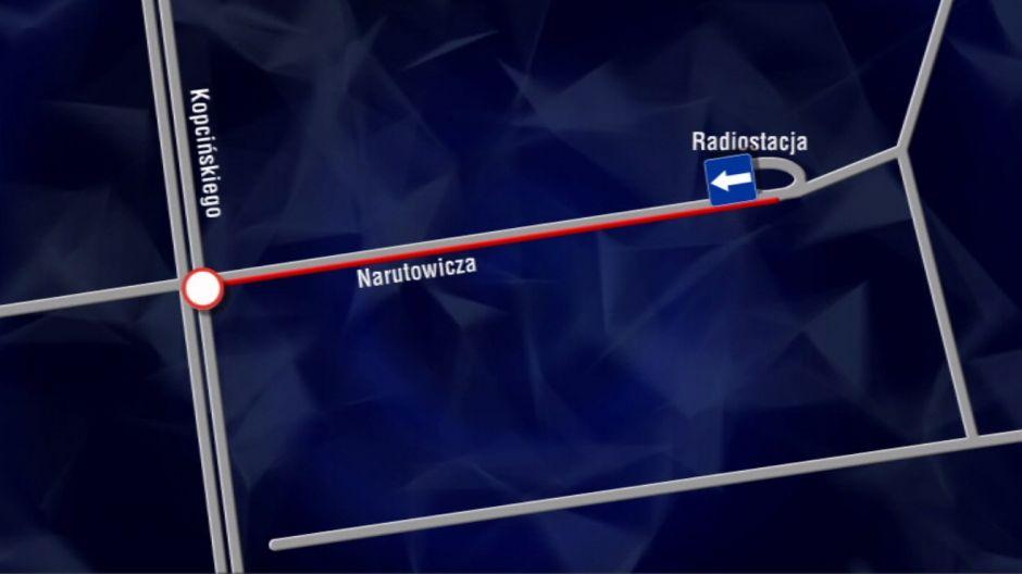 Organizacja ruchu podczas prac na ul. Narutowicza | fot. TVP3 Łódź